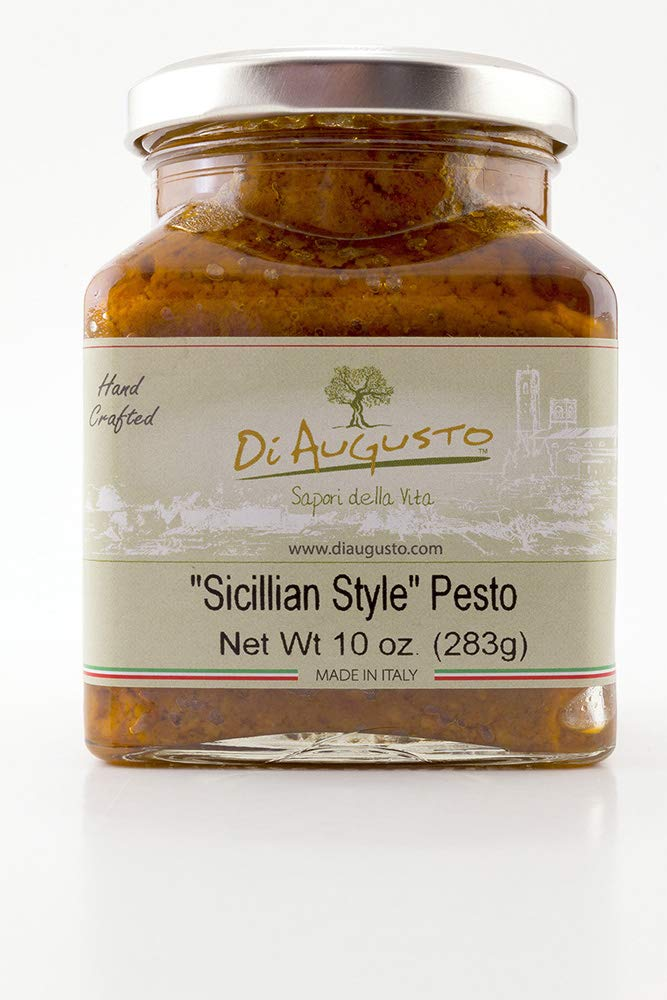 Amazon.com : Di Augusto Pesto Sauce 10 oz (283 gr) Glass Jar (Sicilian Style, Pack of 6) : Grocery & Gourmet Food