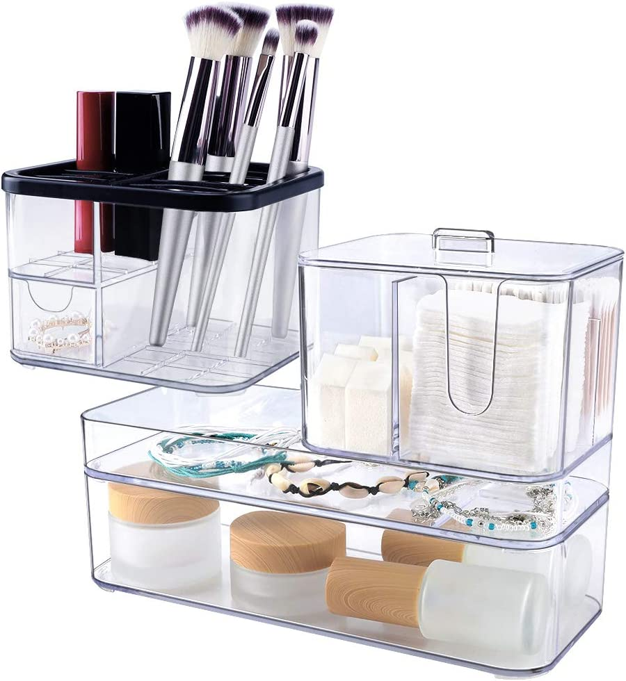 Mebbay Vanity Clear Plastic Makeup Organizer,Unique Design Acrylic Cosmetic Organizer Stackable for Brush Holder, Lipsticks – 4 Parts