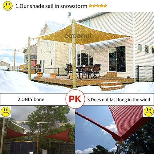 Coconut Rectangle Sun Shade Sail 16 X 20 Ft UV Block Sunshade Canopy Awning Cover for Outdoor Patio Deck Garden Lawn Yard (Sand Color), 16' x 20' by Coconut (Image #6)