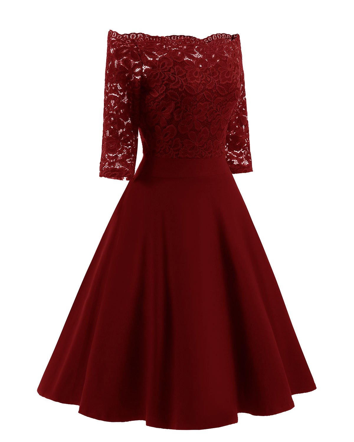 Women's Vintage Dresses Lace Floral Boat Neck 3/4 Long Sleeve Swing Dress A-Line Cocktail Party Prom (XL, Red)