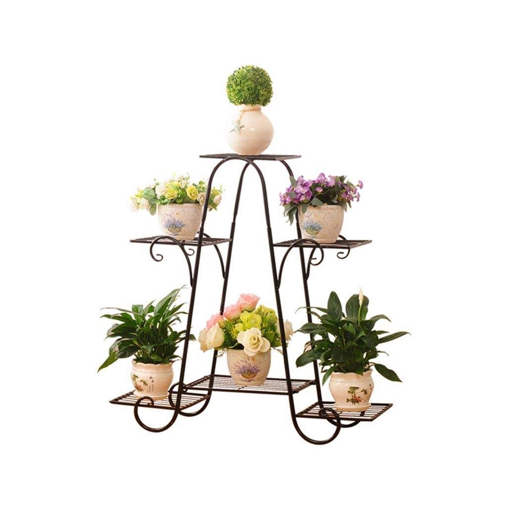 Black-69.5cm22.5cm64.5cm Flower Stand-Metal Flower Pot Plant Display Rack Storage Rack, 4 Layers, Rolling Floor Garden Garden Rack (color  gold, Black) 81.5cm  26cm  82.5cm, 59cm  21cm  52cm