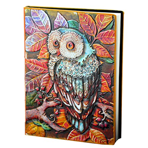 Kennedy Vintage Creative 3D Owl Embossed Leather Cover Notebook, Delicate Relief Diary, Travel Journal(colorful)