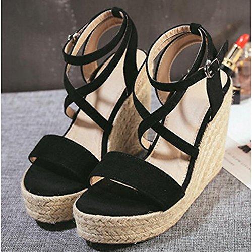 Brun UK6 Printemps US8 Femmes Black ZHZNVX Été Sandales CN39 pour Talon Chaussures Confort Casual Brown PU EU39 wHCtqx7CZ