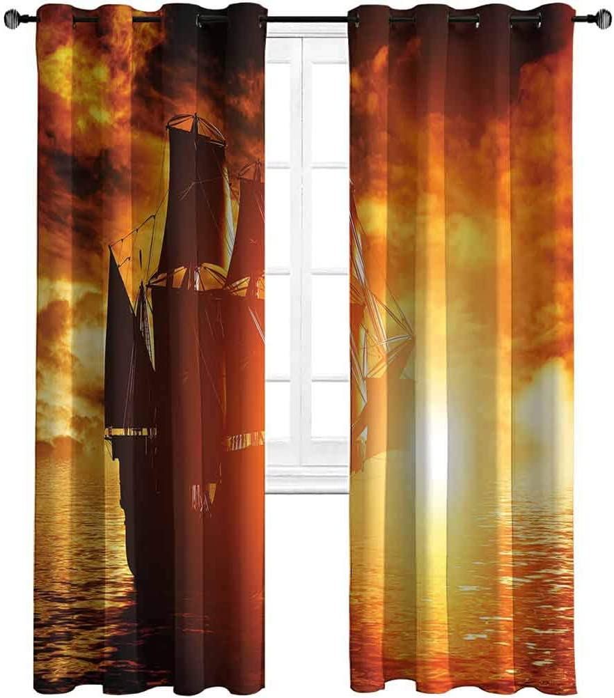 Opehodecor Pirate Ship Blackout Curtains Ancient Pirate Ship Sailing on The Ocean at Sunset in Full Sail Print Grommet Curtains for Living Room/Bedroom 63 x 45 inch