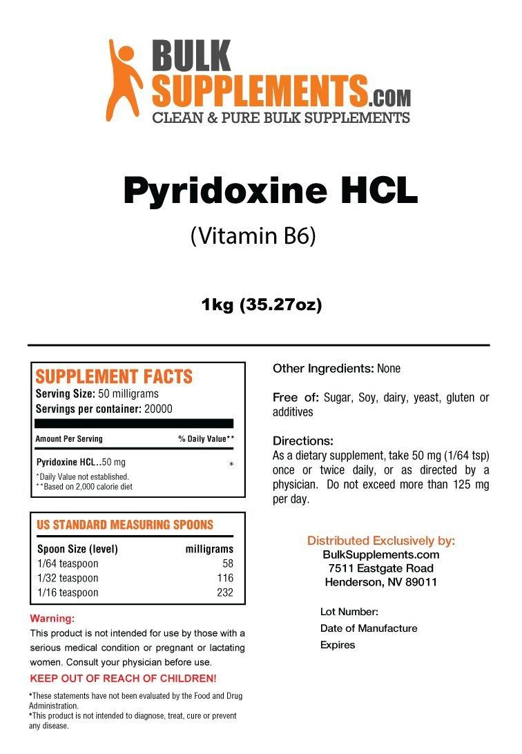 BulkSupplements Vitamin B6 (Pyridoxine HCL) Powder (1 Kilogram)