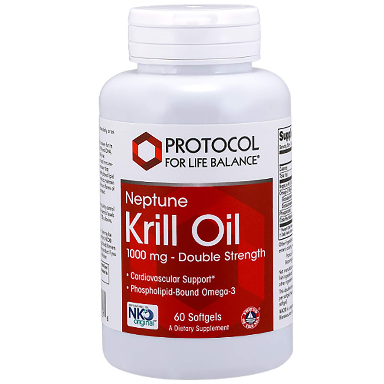 Protocol For Life Balance - Neptune Krill Oil 1,000 mg (Double Strength) - EPA, DHA, High for Cardiovascular, Immune, and Joint Support, Contaminant Free - 60 Softgels