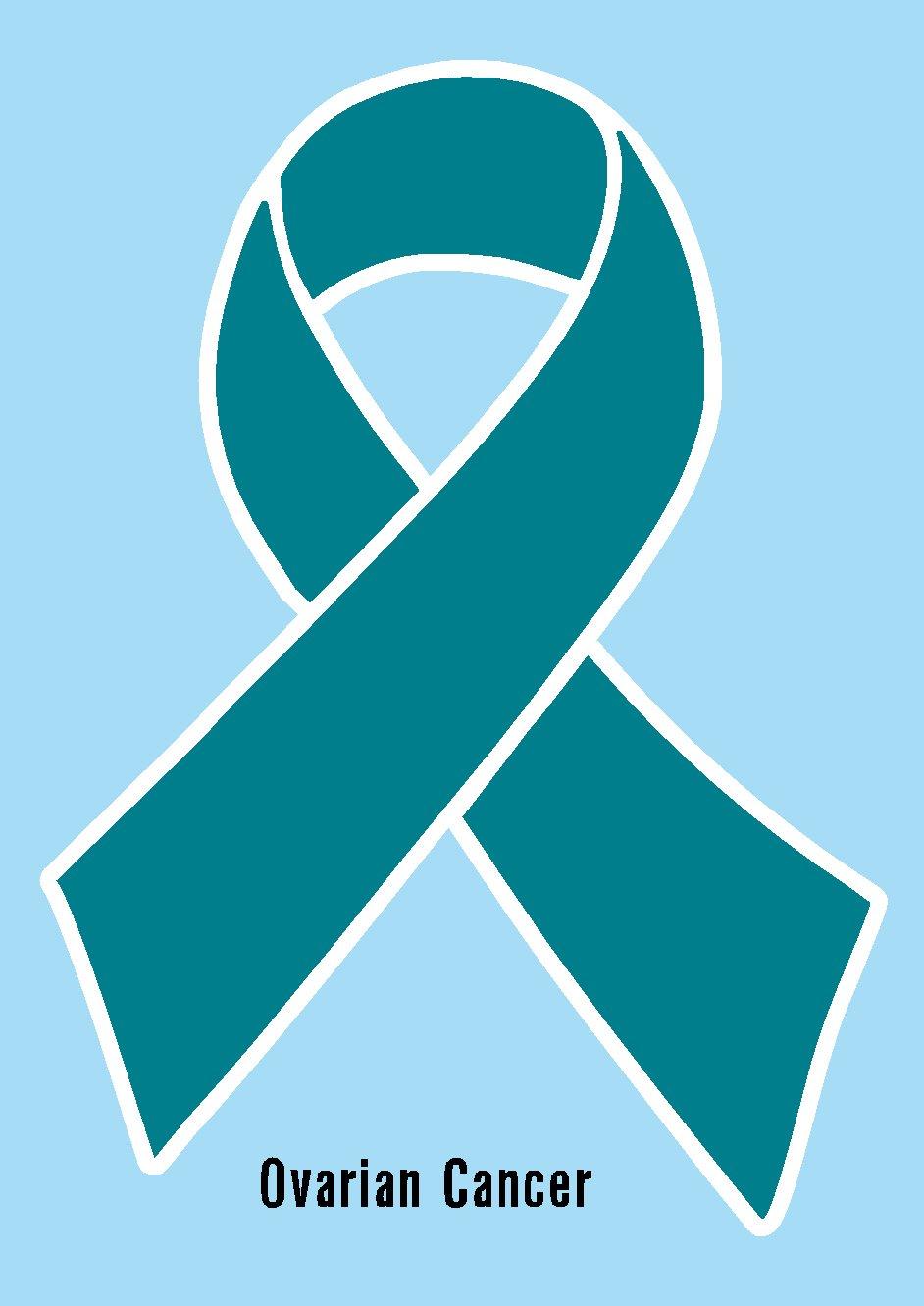Amazon Ovarian Cancer Ribbon Teal Printed Vinyl Decal