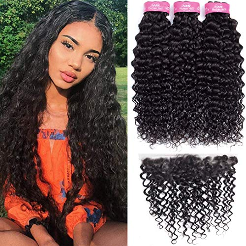 3 Bundles Water Wave Bundles with Frontal (22 24 26+18inch,Free Part) 10A Grade Brazilian Human Hair Bundles with Frontal Closure 13x4 RESACA Virgin Wet and Wavy Human Hair Extension