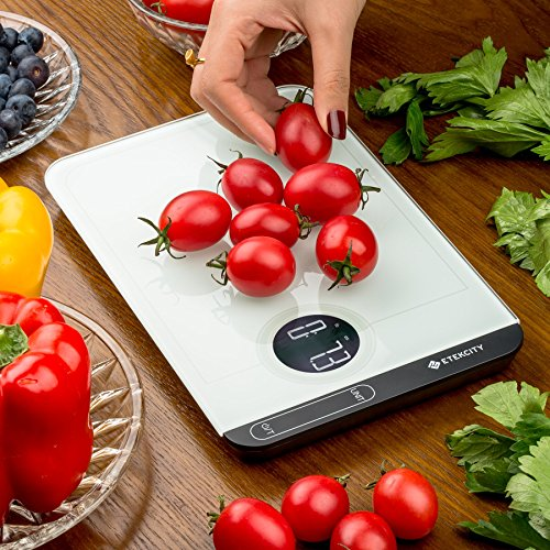 Etekcity Digital Touch Kitchen Scale Multifunction Food Scale 1g Weighable with Easy to Clean Tempered Glass Surface, 11lb 5kg