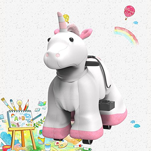 Hoverheart Rechargeable 6V/7A Plush Animal Ride On Toy for Kids (3 ~ 7 Years Old) with Safety Belt (Unicorn)