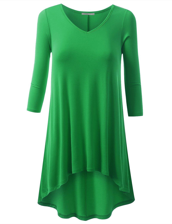 38c5295aff 3 4 Sleeve Hi-Lo eLong Tunic Top Mini T-shirt Dress Complete with Hi-Lo  Hemline Soft