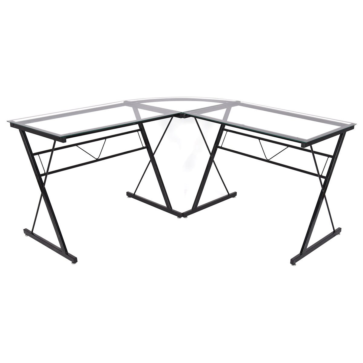 TANGKULA Computer Desk Modern Simple Style 3-Piece Metal Frame Study Laptop Writing Gaming Table Workstation Home Office Studio Glass L- shaped Corner Desk