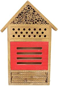 Insect House​, Wooden Insect Bee House Wood Bug Room Hotel Shelter Garden Decoration Nests Box, Hanging Bee Hive Wooden House for Ladybugs, Bee, Butterfly, Beetle Outdoor Garden