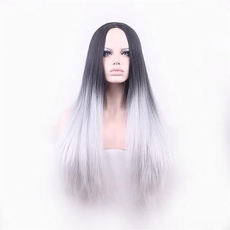 Peluca de pelo largo peluca lisa con raya en medio, degradado de ...