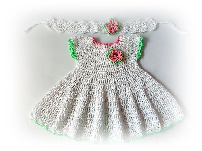 Amazoncom Crochet Baby Dress Newborn Dresses White Green Baby