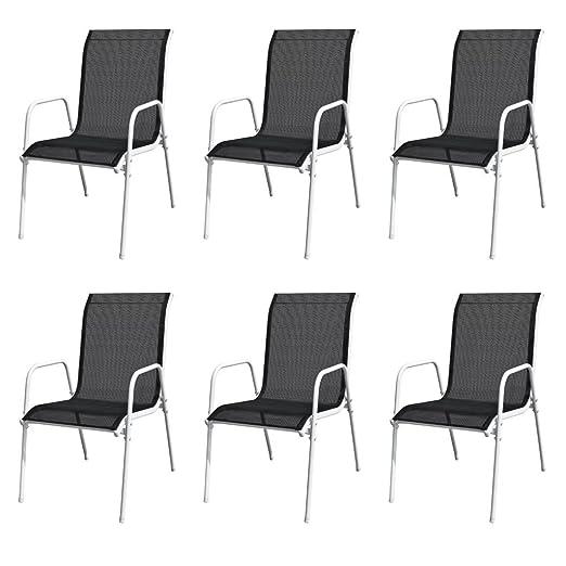 Tidyard Sillas de jard/ín apilables 6 Unidades Acero y textileno Negro