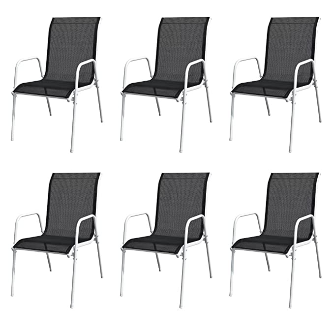 Tidyard- Sillas de jardín apilables 6 Unidades Acero y textileno Negro