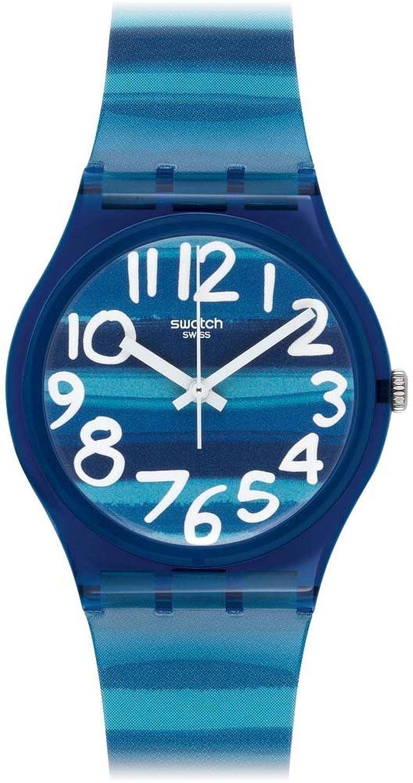 swatch womenus quartz watch linajola gn with plastic strap swatch amazoncouk watches