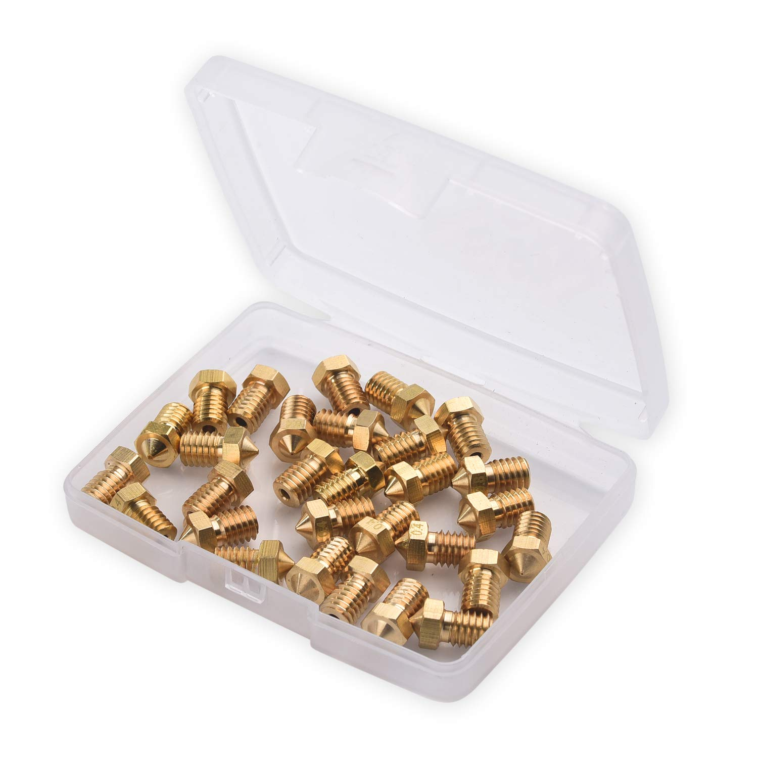 30 Pieces E3D 3D Printer Nozzles 0.6mm 0.5mm 0.3mm Wellerly 0.2mm 1.0mm M6 3D Printer Nozzle Extruder Print Head with Free Storage Box for E3D-V5 V6 Makerbot 0.4mm 0.8mm