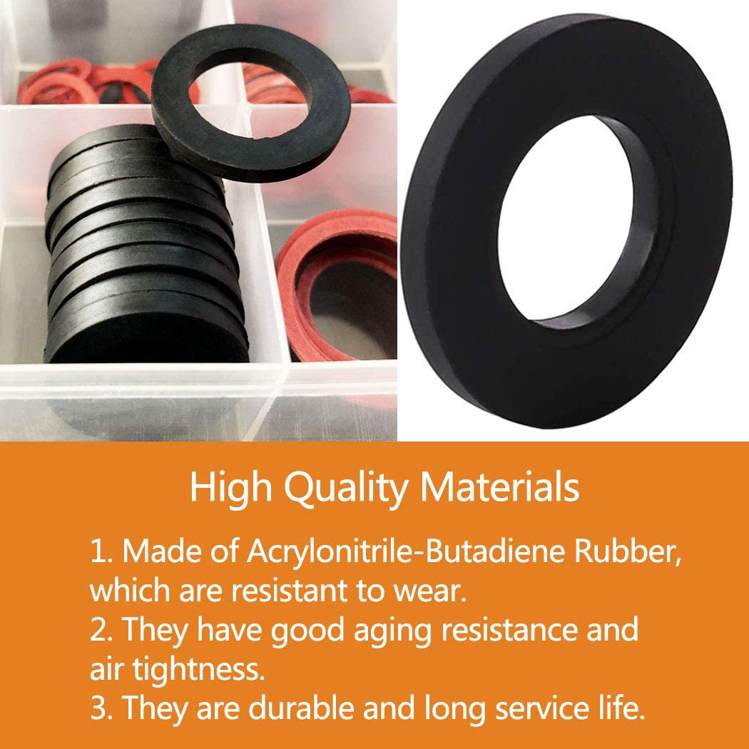141 PCS O-Rings Seal Gasket Washers Rubber Sealing Garden Hose Washers Set 18 Sizes Faucet Washer Assortment Kit Rubber Tap Seal Plumbing Silicone Gaskets for Garden Hose Fittings