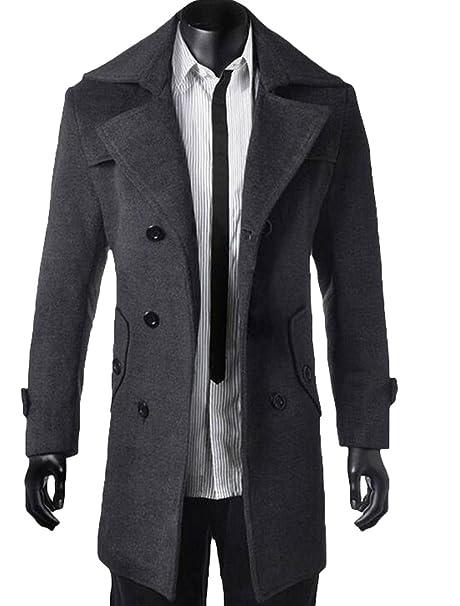 e312d9a56b8ae5 Vogstyle Sottile Caloroso Cappotto da Uomo Invernale di Lana Grigio 2XL:  Amazon.it: Abbigliamento