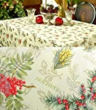 xp-hs120n12 Benson Mills Holiday Spirits Christmas SET 120 x 60 Tablecloth & 12 Dinner Napkins Jacquard Damask Pine Cones & Berries