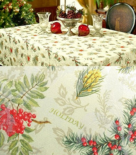 xp-hs144n16 Benson Mills Holiday Spirits Christmas SET 144 x 60 Tablecloth & 16 Dinner Napkins Jacquard Damask Pine Cones & Berries by Benson Mills