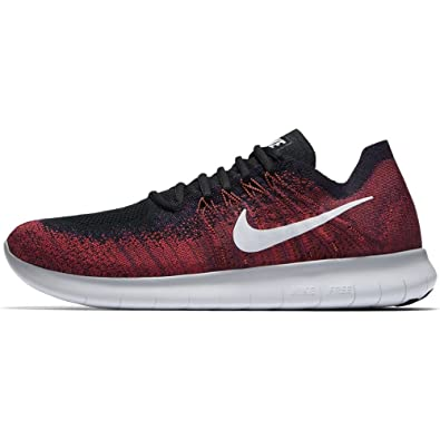 huge selection of 7bede ae2ec NIKE Mens Free RN Flyknit 2017 Running Shoes (9, SilverRed-M