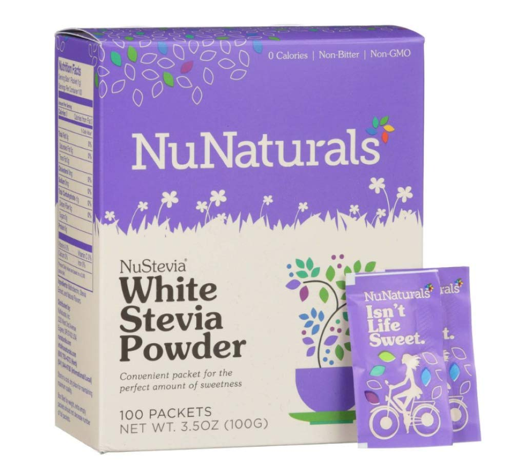 NuNaturals - NuStevia White Stevia Powder - 100 Packets - Pack of 4 Boxes
