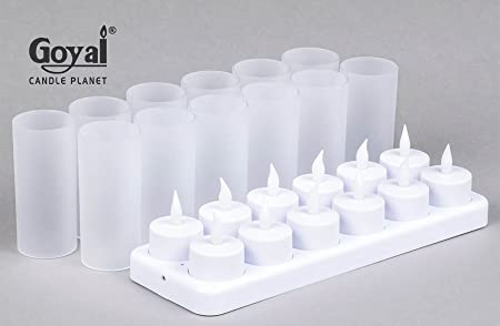 GOYAL® Rechargeable LED Tealights (Set of 12) with Frosted Glass Cups, Indian Pin Charger & Charging Docket