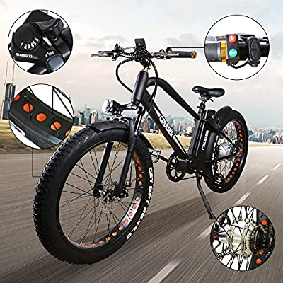 """NAKTO 26"""" 500W Electric Bicycle Fat Tire Snow Mountain EBike Shimano 6 Speeds Gear with Removable 48V Lithium Battery,Smart Multi Function LED Display"""