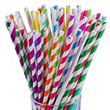 Antner 225PCS Paper Straws Biodegradable Stripe Drinking Straw for Celebration Parties and Arts Crafts Projects, Multicolor