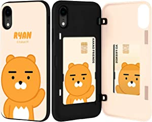 Kakao Friends iPhone XR Wallet Case with Card Holder, Protective Dual Layer Bumper Phone Case (Ryan Beige) IPXR-KMDB-RYNBG
