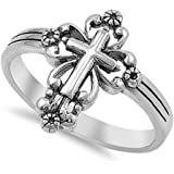 VE-01090 Sterling Silver Victorian Style Cross Band Ring