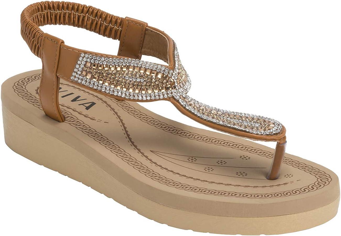 VIVASHOES Femmes Diamante Larme Mode Plate-Forme des Sandales