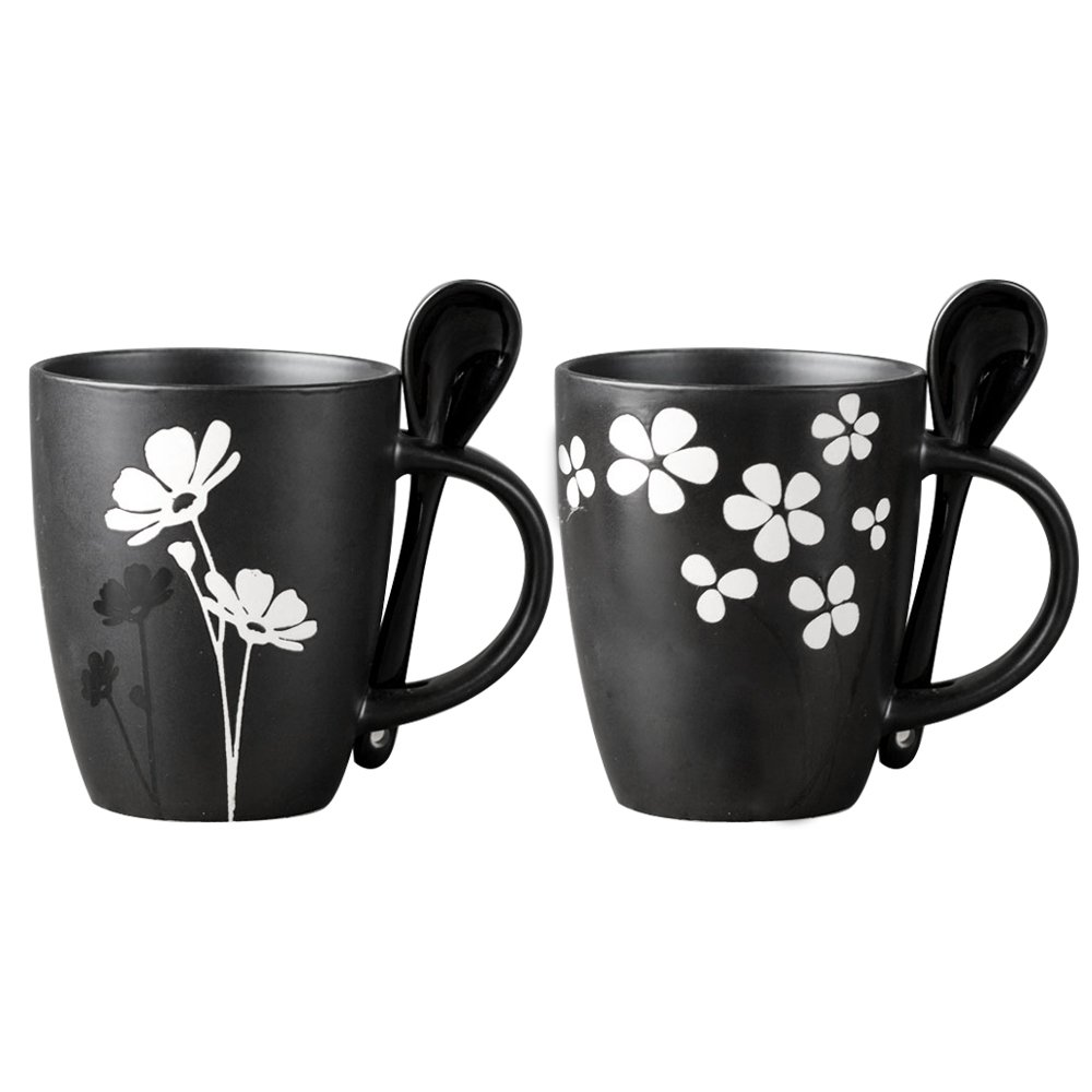 Fullcci - 12 oz Creative Porcelain Black Coffee Mug with Flower Pattern, Tea Cup, with 2 Spoons, Set of 2