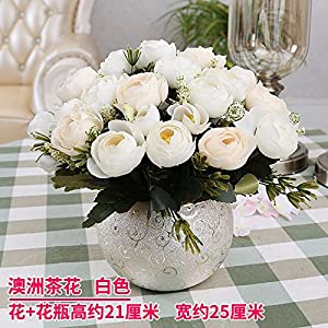 LighSCH Artificial Flowers Fake Bouquet Dining Table Plastic Camellia White 107