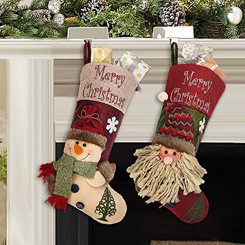 Ivenf Christmas Stockings, 2 Pcs 18 inches Plush 3D Santa and Snowman...