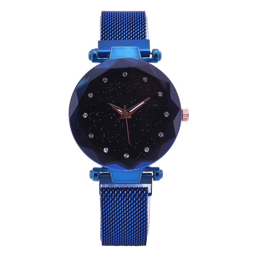 Eduavar Womens Watches Sale Clearance Women Starry Sky Analog Quartz Watch Fashion Wrist Watch Casual Business Bracelet Watches Gift Round Dial Case Leather Stainless Steel Band Watches