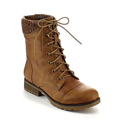 Ladies Wynne-06 Sweater Cuff Lace Up Combat Boot
