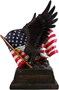 Patriotic Eagle with Flag Statue 10 1/4 Inch