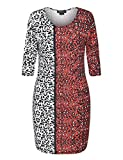 Chicwe Women's 3/4 Sleeves Contrast Animal Print Plus Size Dress 24, Animal Print