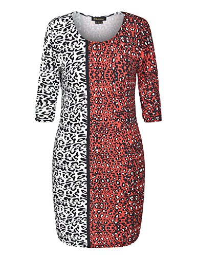 Animal Contrast Dress (Chicwe Women's 3/4 Sleeves Contrast Animal Print Plus Size Dress 24, Animal Print)