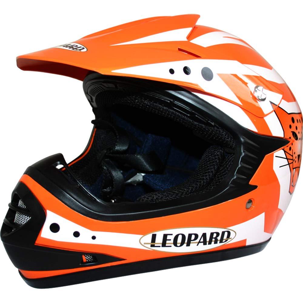 49-50cm Orange S - Casque de Moto de Bicyclette ATV ECE 22-05 Approbation Leopard LEO-X17 Casques Motocross /& Gants denfants /& Lunettes pour Enfants