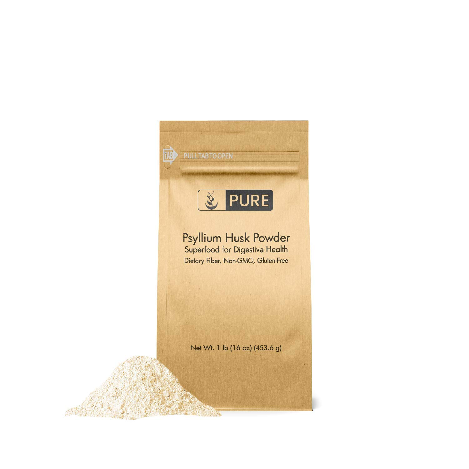 Psyllium Husk Powder (1 lb.) by Pure Organic Ingredients, Fiber Powder Supplement, Additive for Gluten-Free Baking by Pure Organic Ingredients