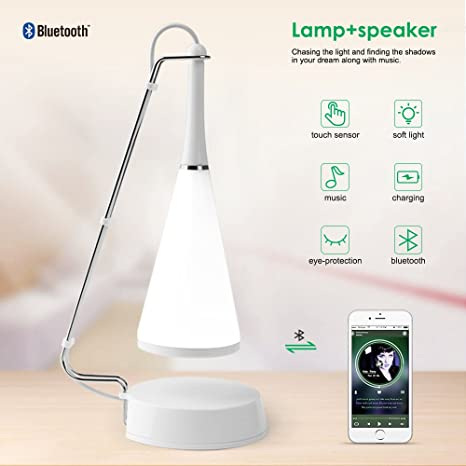ELEPOWSTAR Night Lights, LED Touch Sensor Bedside Lamps, Bluetooth Speaker  Wireless Table Lamp,