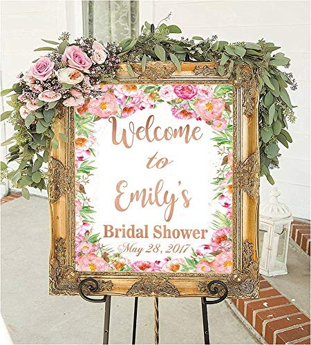 Personalized Bridal shower signs welcome to our wedding decorations games frame favors sign in ideas gift for bride banner rustic wedding decor brides to be floral flowers ()