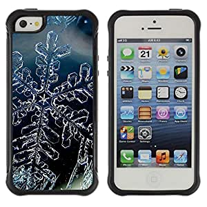 All-Round híbrido Heavy Duty de goma duro caso cubierta protectora Accesorio Generación-II BY RAYDREAMMM - Apple iPhone 5 / 5S - Snow Crystal Snowflake Winter Ice