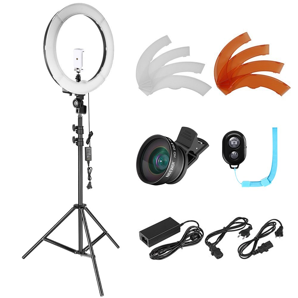 Neewer Photo Studio LED Ring Light Lighting Kit - 14-inch Outer Dimmable LED Ring Light,6.5 feet Light Stand, Remote Control,2-in-1 Cellphone Lens,Light Filters for YouTube Video Shooting (US/EU Plug) by Neewer