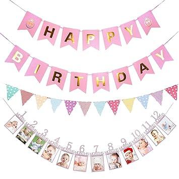 Amazon.com: loloajoy rosa sonrisa feliz cumpleaños Banner ...